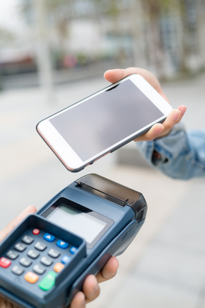 nfc: Mobile payment with NFC Stock Photo