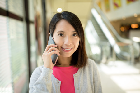 woman on phone: Woman talk to phone