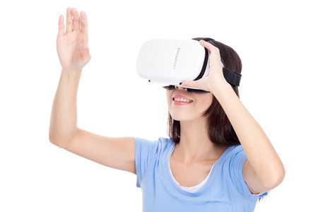 virtual reality simulator: Woman experience though VR device Stock Photo