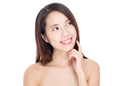 far away look: Young asian woman with perfect skin