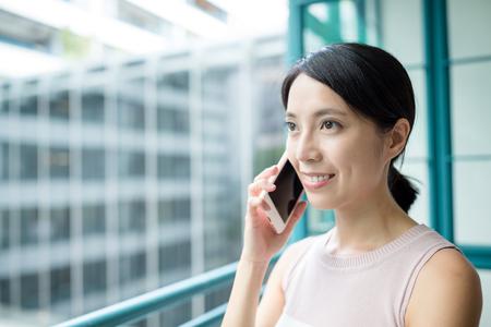 far away look: Woman pcik up a call