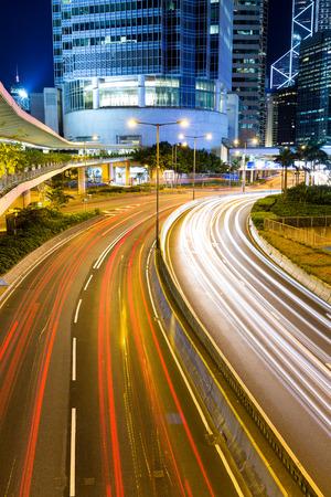 night traffic: Night Traffic Hong Kong Stock Photo