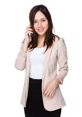phone professional: Young Buisnesswoman chat on the mobile phone Stock Photo