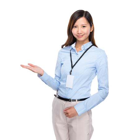 open palm: Asian businesswoman present open palm on white background