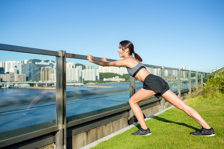 warm up exercise: Woman doing warm up exercise at outdoor