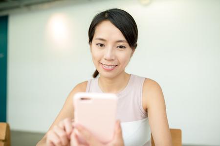 woman on phone: Woman use smart phone