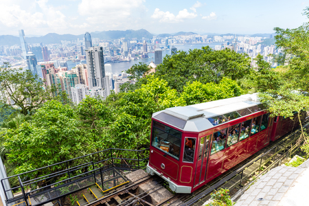 Peak Tram and Hong Kong city skyline