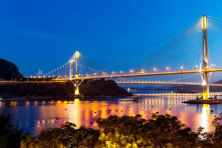 Bay bridge in Hong Kong at sunset Stock Photo