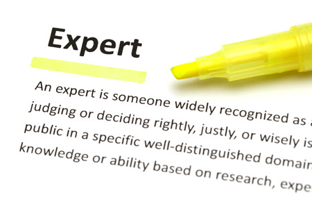data dictionary: Yellow marker on expert word Stock Photo