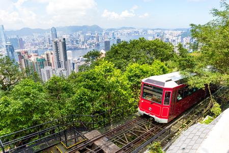 hongkong: Tourist tram at the Peak