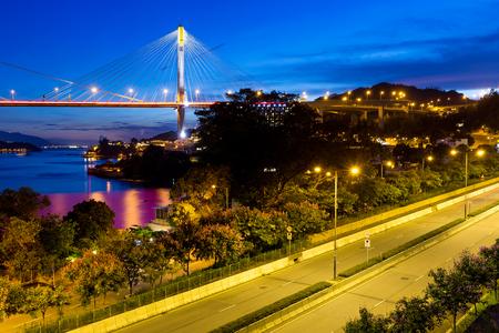 ting: Ting Kau suspension bridge in Hong Kong