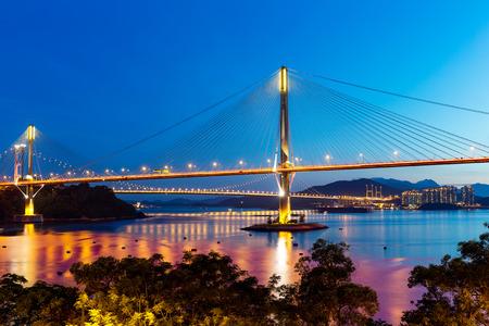 ting: Ting Kau suspension bridge at night Stock Photo
