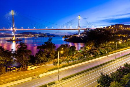ting: Ting Kau suspension bridge in Hong Kong at night Stock Photo