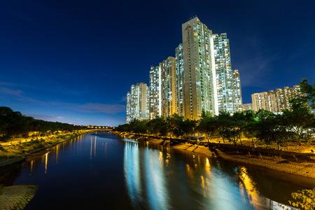public housing: Hong Kong housing at night