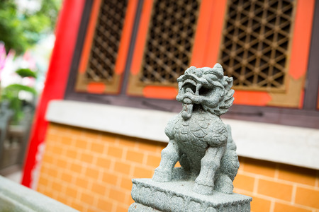 Lion statue in the chinese temple
