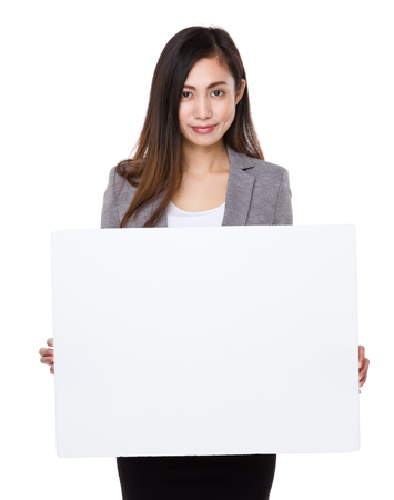Asian businesswoman show with the white paper Stock Photo