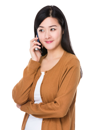Young Woman chat on the mobile phone Stock Photo