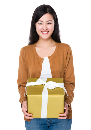 Woman hold with big gift
