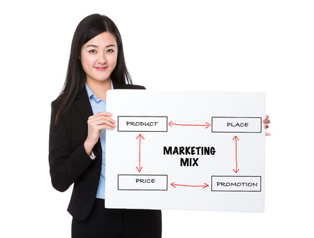 4p: Young businesswoman holding a board presenting business mix concept Stock Photo