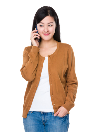 Asian woman talk to mobile phone