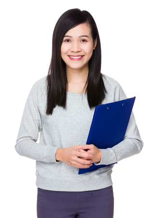 sweatsuit: Young Woman hold with clipboard