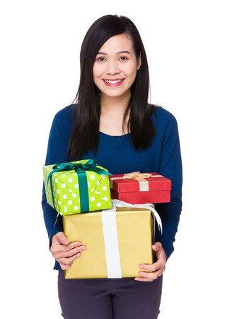 sweatsuit: Young woman hold with many gift box