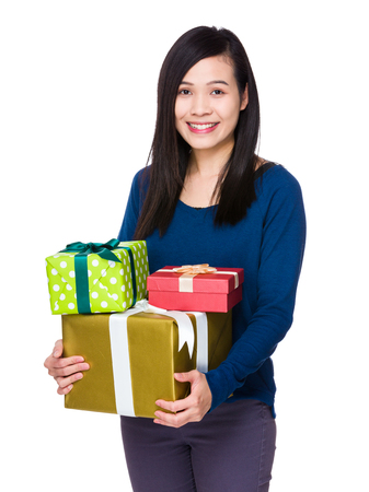 sweatsuit: Asian Woman hold with many present box