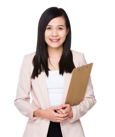 executive assistants: Young Businesswoman hold with clipboard