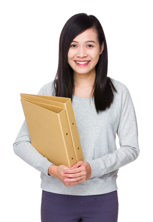 sweatsuit: Woman hold with folder Stock Photo