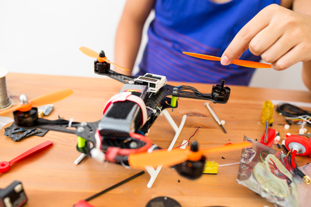 assembler: Connecting the parts on drone Stock Photo