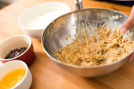 the mixing: Mixing batter inside bowl