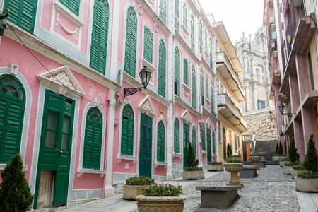 Old town in Macao city 스톡 콘텐츠