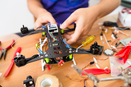 Building of flying drone Stock Photo
