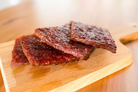 snack food: Sliced of dried pork snack food