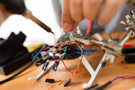 Connecting the drone with welding equipment