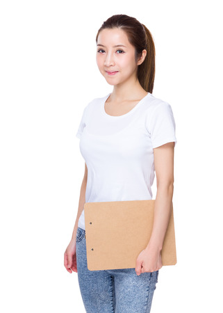 Asian Woman hold with clipboard Stock Photo
