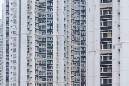 overpopulated: Facade of a apartment building Stock Photo