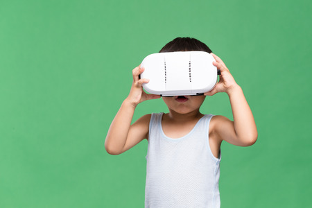 though: Little boy watching though VR