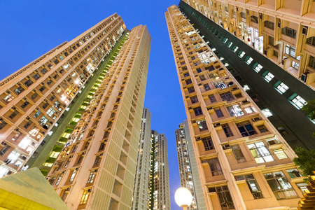 public housing: Residential building to the sky at night