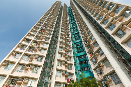 angle: Apartment Building from low angle Stock Photo