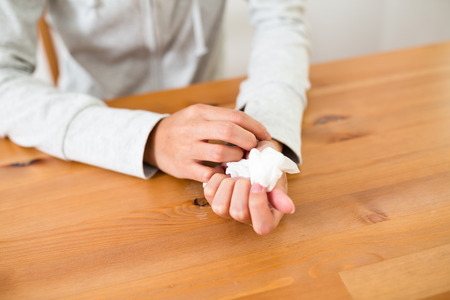 hyperhidrosis: Woman feeling stress and suffer from palmar hyperhidrosis Stock Photo
