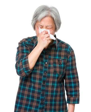runny: Asian mature woman runny nose