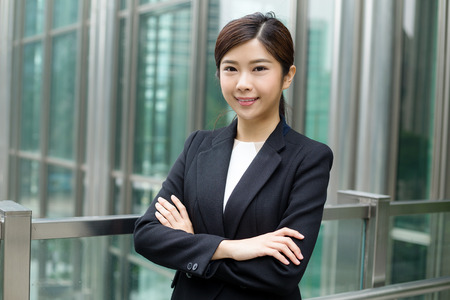 Asian Business woman standing at outdoor Stock Photo