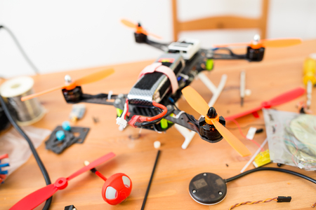 Flying Drone installation Stock Photo
