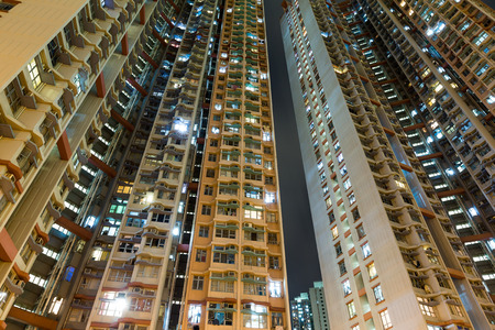 overpopulated: Public housing to the sky at night