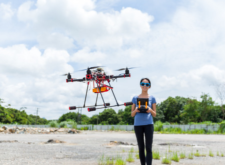 maneuvering: Drone flying at outdoor