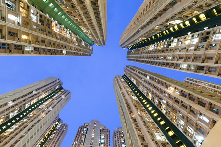 overpopulated: Building from low angle Stock Photo