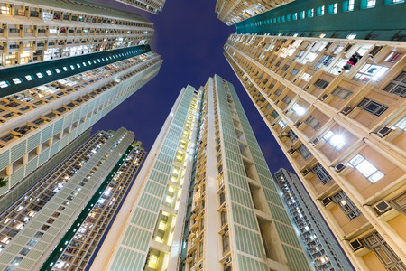 overpopulated: Skyscraper to the sky Stock Photo