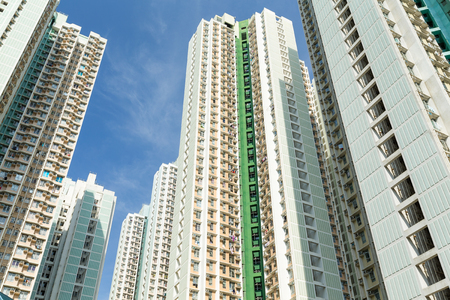overpopulated: Public housing building to the sky Stock Photo