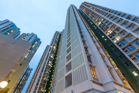 public housing: Residential building from low angle Stock Photo